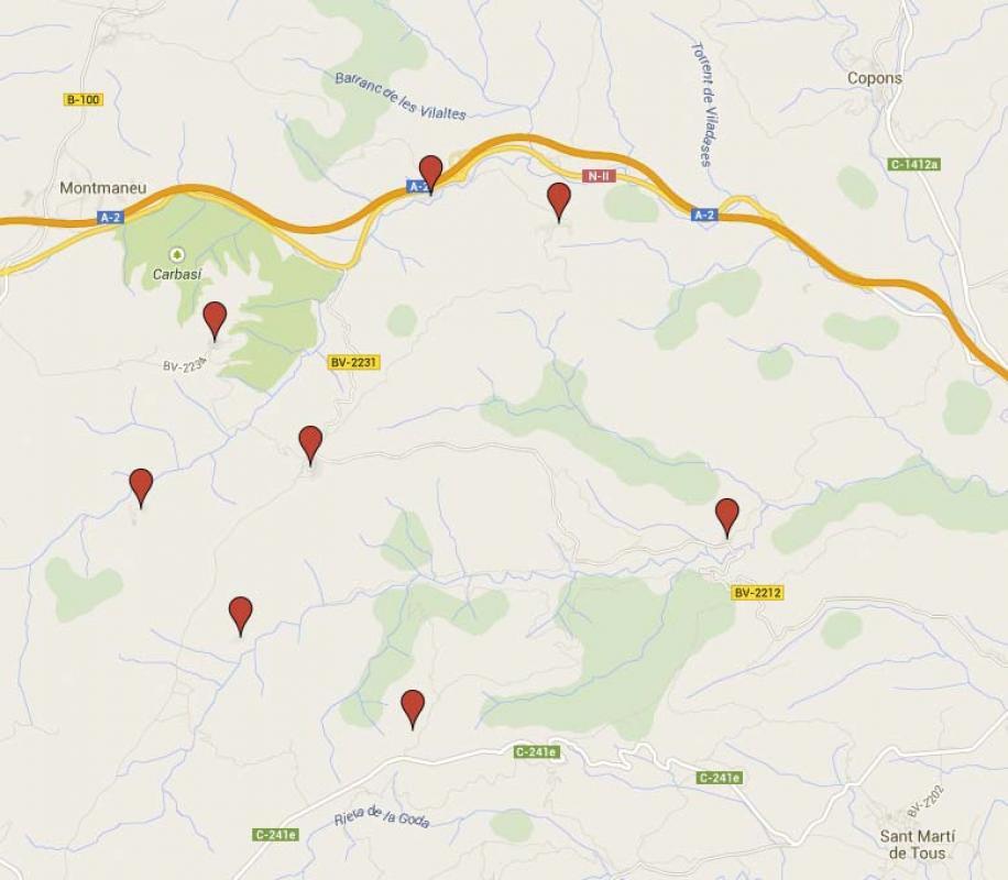 Mapa de situació dels nuclis del municipi d'Argençola - Argençola
