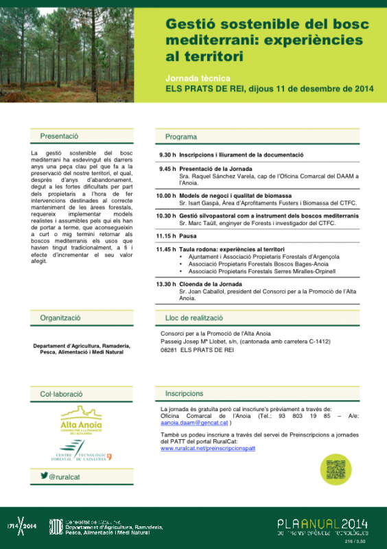 cartell Gestio? sostenible del bosc mediterrani: experie?ncies al territori