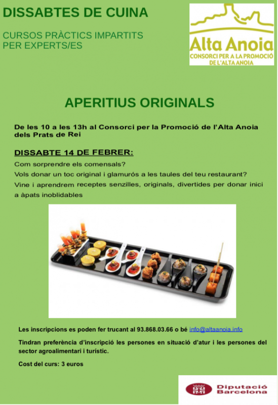 cartell Dissabtes de cuina: Aperitius originals