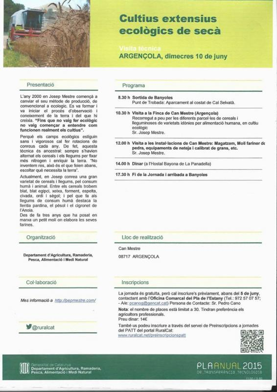 cartell Visita a les instal·lacions de cultiu ecològic de Pep Mestre