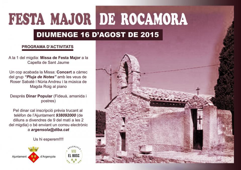 cartell FESTA MAJOR DE ROCAMORA 16 D'AGOST DE 2015