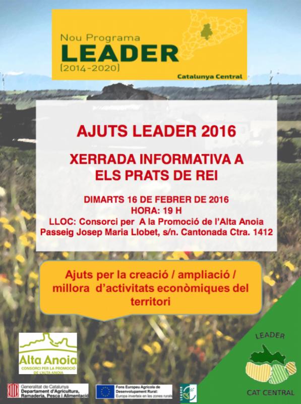 cartell Sessió Informativa d'ajuts econòmics Leader