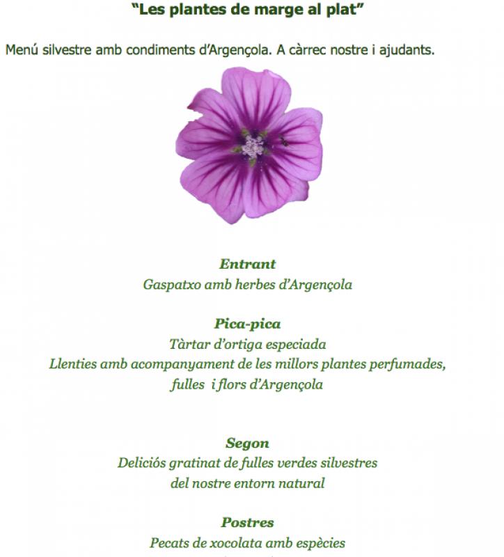 6è Mercat de les Espècies menú Les plantes de marge al plat - Argençola