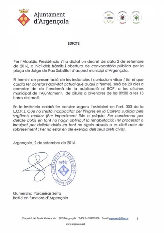 Convocatòria plaça de Jutge de Pau Substitut d'Argençola - Argençola