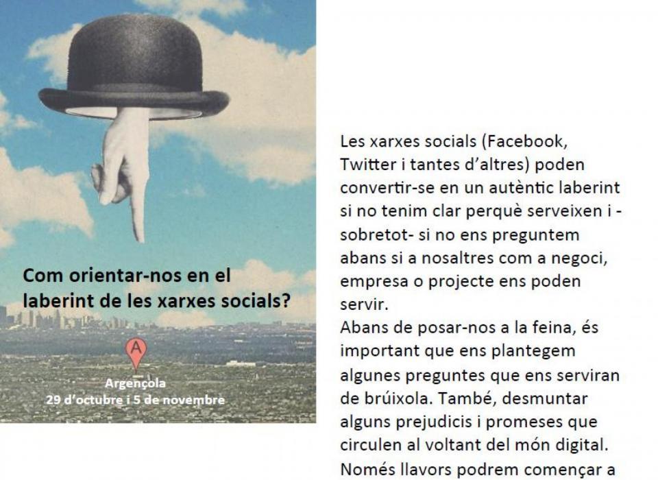 09.10.2016 La Regidoria de Promoció Econòmica organitza un curs de xarxes socials  Argençola -  Marta Berenguer