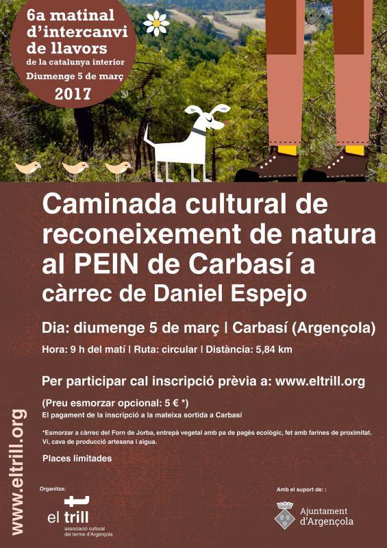 cartell Caminada de reconeixement de natura al PEIN de Carbasí