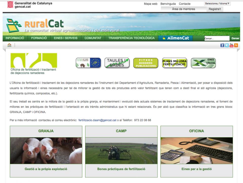 Oficina de fertilització i tractament de les dejeccions ramaderes -