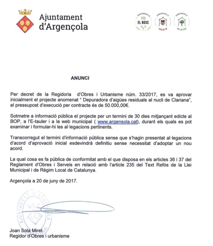Aprovació inicial del projecte 'Depuradora d'aigües residuals de Clariana'