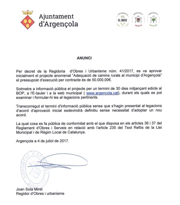 Aprovació inicial del projecte 'Adequació de camins rurals al municipi d'Argençola' - Argençola