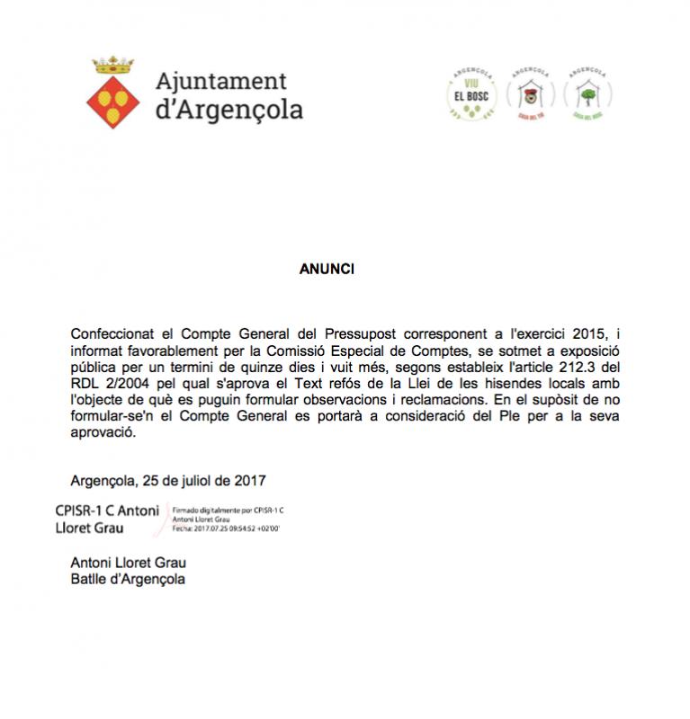 Compte General del Pressupost 2015 - Argençola