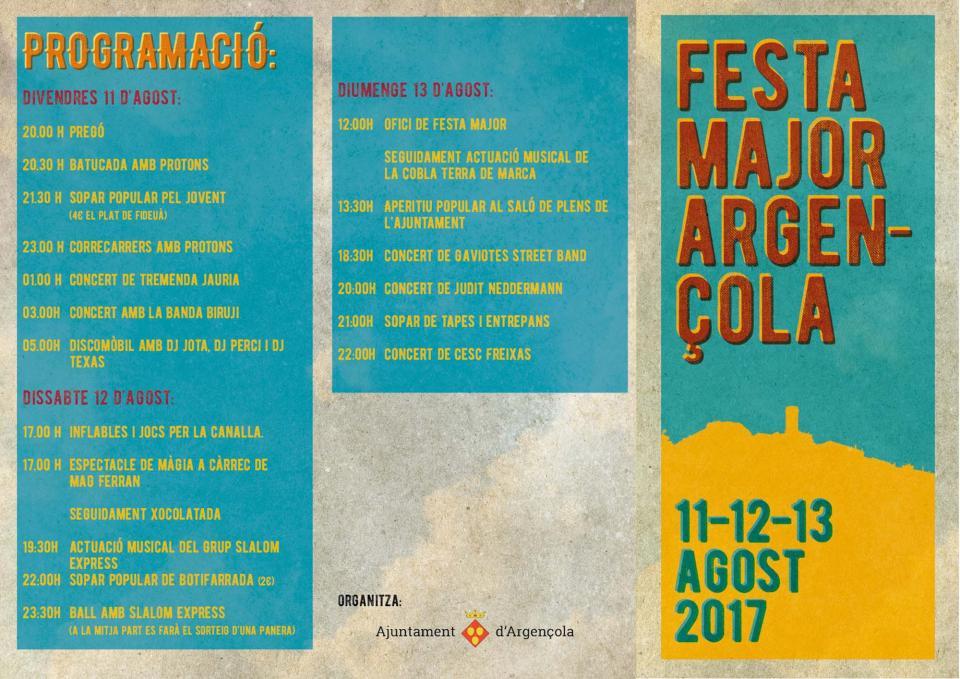 cartell Festa major d'Argençola 2017 - Argençola