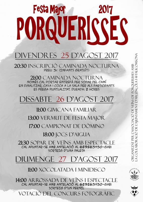 cartell Festa Major de Porquerisses 2017