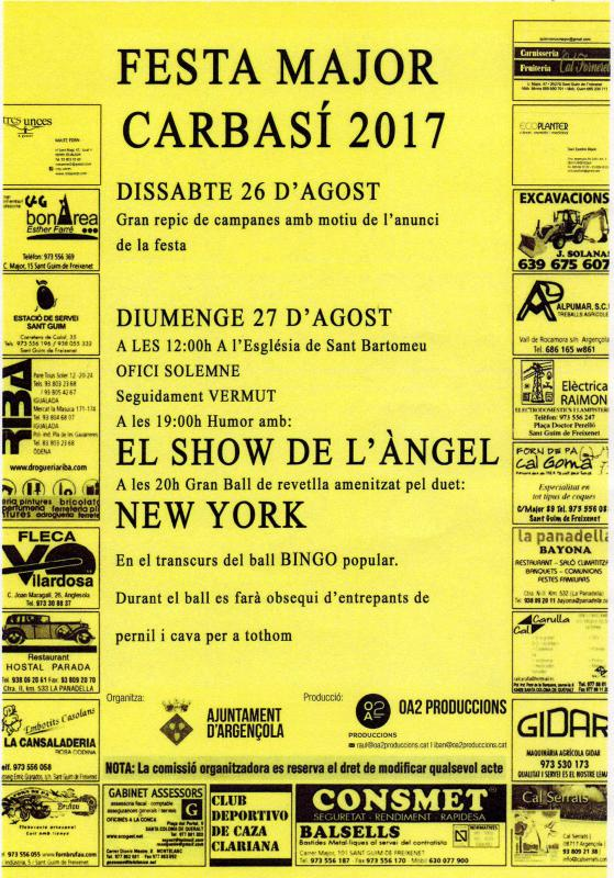 cartell Festa Major de Carbasí 2017
