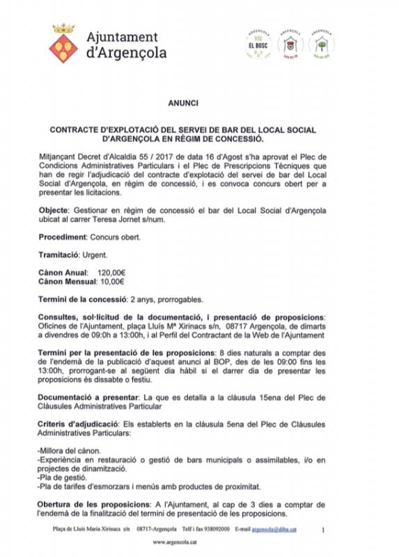 Contracte d'explotació del servei de bar del Local Social d'Argençola en règim de concessió - Argençola