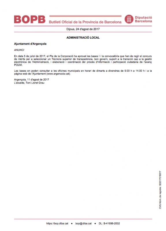Selecció d'un Tècnic/a superior de transparència, bon govern, suport a la transició cap a la gestió electrònica de l'Administració - Argençola