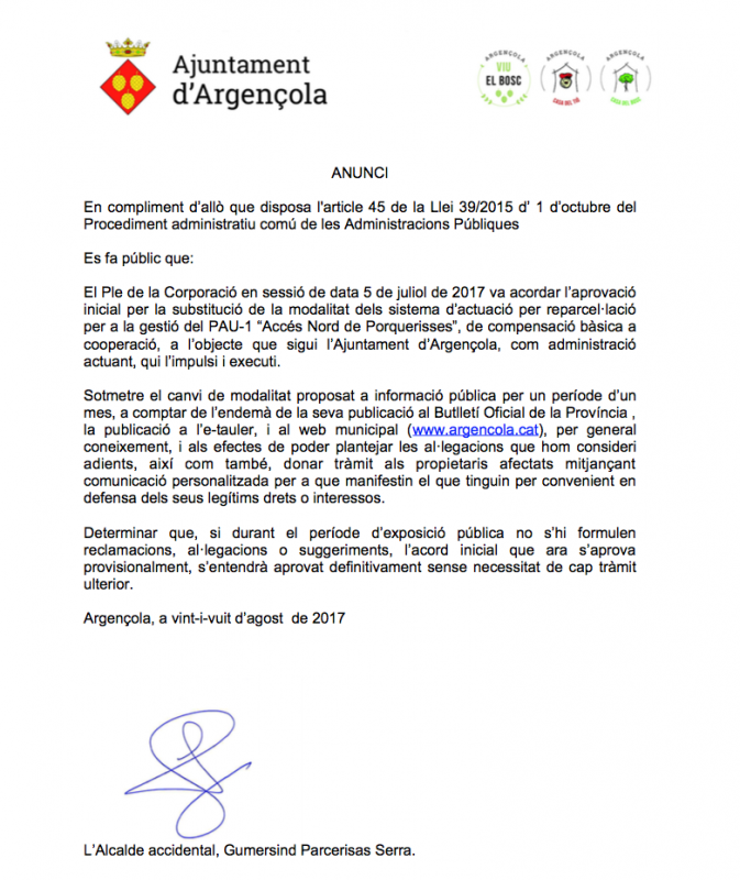 Substitució de la modalitat dels sistema d'actuació per reparcel·lació per a la gestió del PAU-1 'Accés Nord de Porquerisses' - Porquerisses