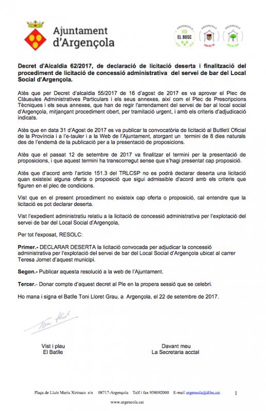 Declarada deserta la licitació per adjudicar la concessió per explotar el servei de bar del Local Social d'Argençola - Argençola