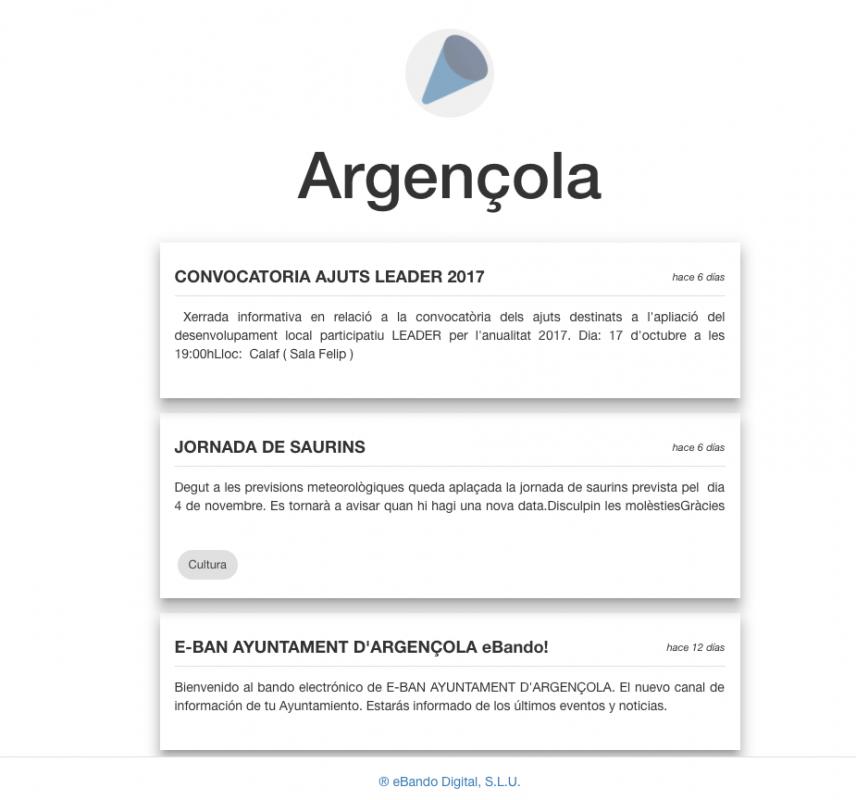 eBando, nou canal  de comunicació de l'ajuntament amb els veïns - Argençola