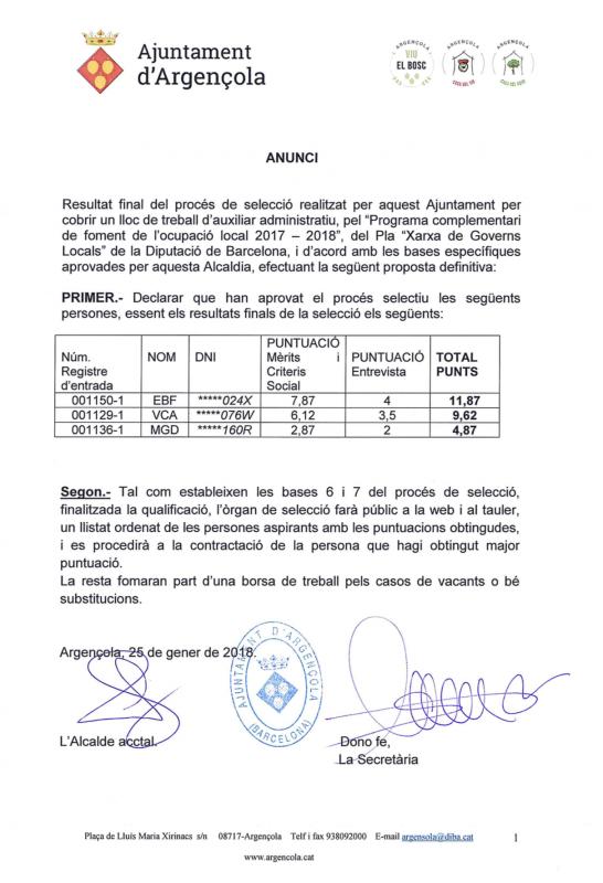 Resultat final del procés de selecció realitzat per cobrir un lloc de treball d'auxiliar administratiu - Argençola