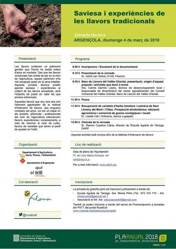 Jornada Tècnica PAT 'Saviesa i experiències de les llavors tradicionals' - Argençola