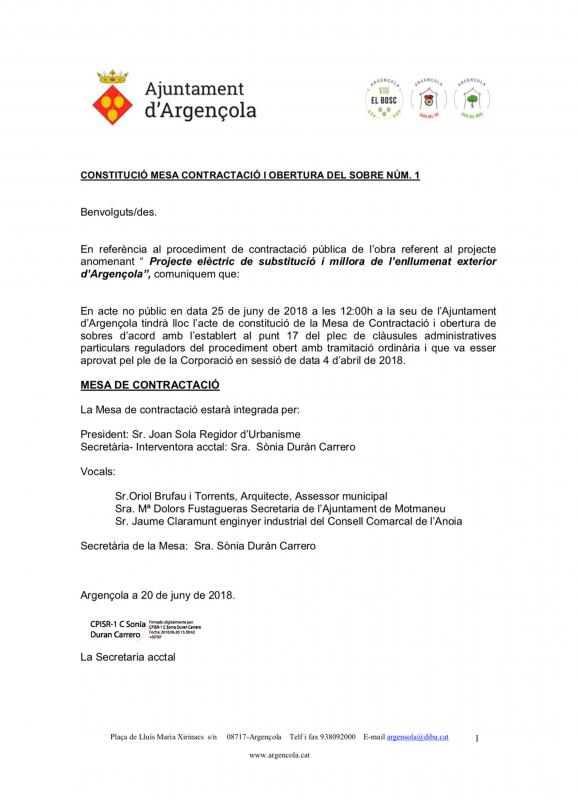 Projecte elèctric de substitució i millora de l'enllumenat exterior d'Argençola - Argençola