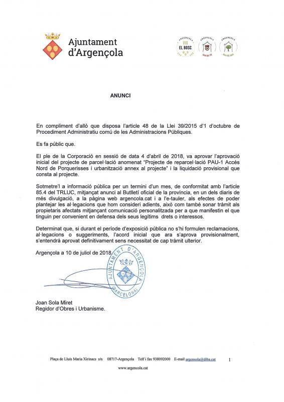 Projecte de reparcel·lació PAU-1 Accés Nord de Porquerisses i urbanització annex al projecte