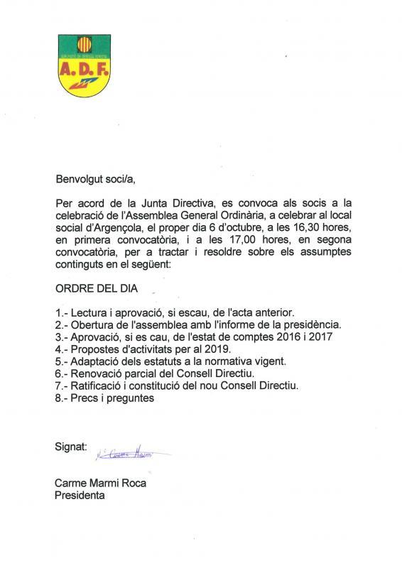 Assemblea General Ordinària de l'A.D.F. d'Argençola