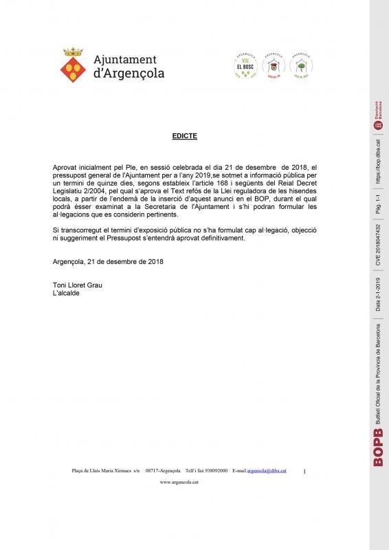 Edicte Aprovació inicial del pressupost per a l'exercici 2019 - Argençola