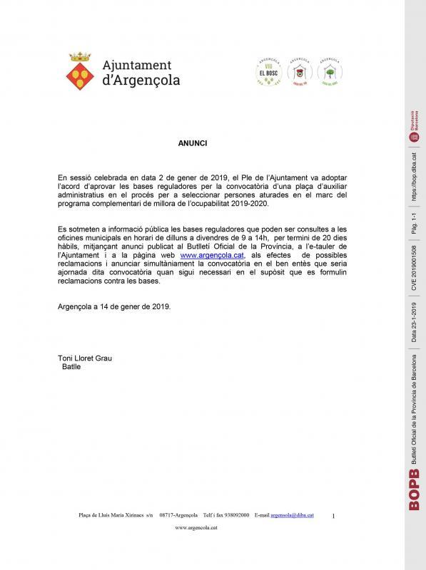 Anunci bases reguladores per la convocatòria d'una plaça d'auxiliar administratiu - Argençola