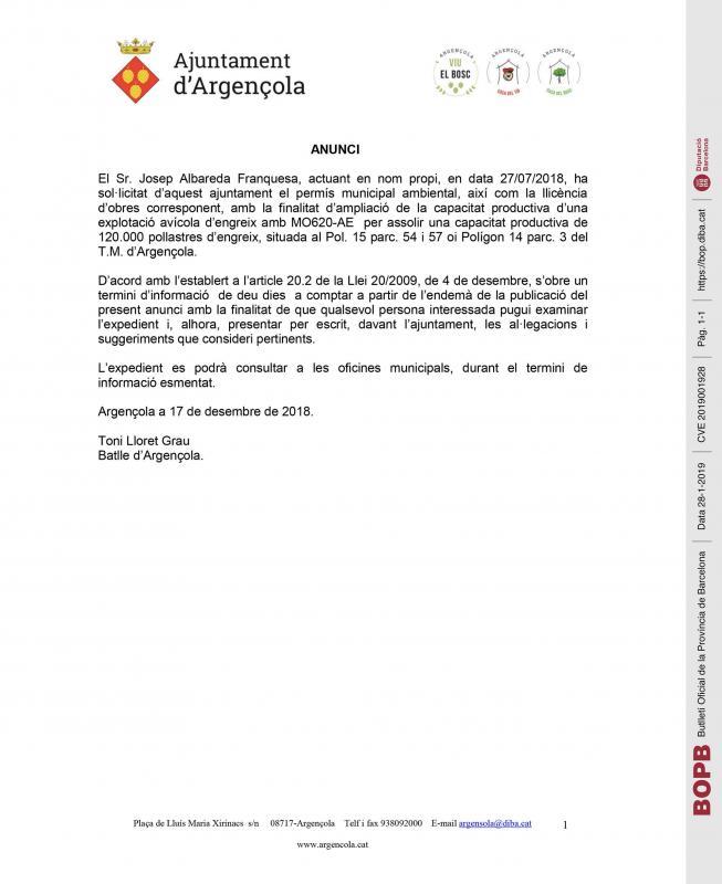 Anunci d'ampliació de la capacitat productiva d'una explotació avícola - Argençola