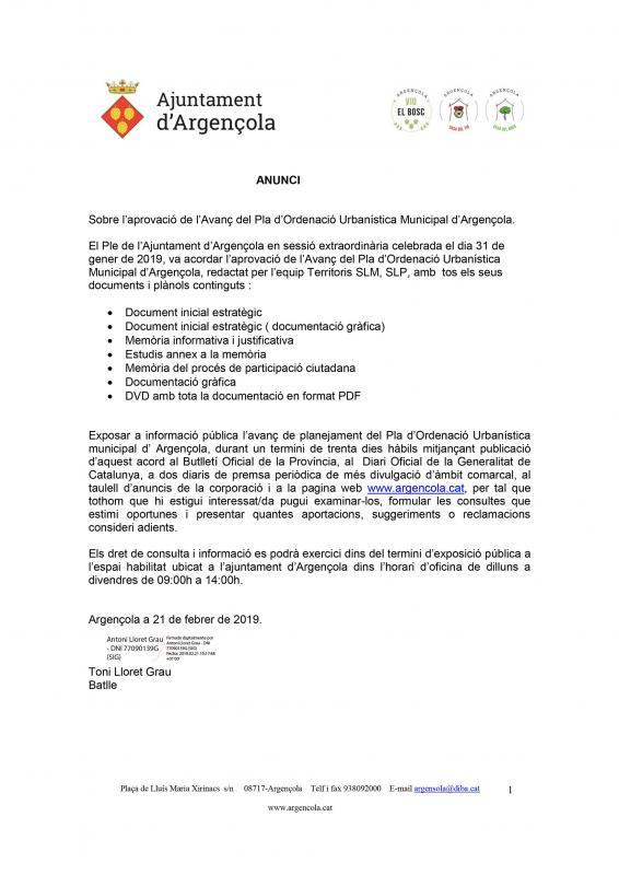 Aprovació de l'Avanç del Pla d'Ordenació Urbanística Municipal d'Argençola. - Argençola