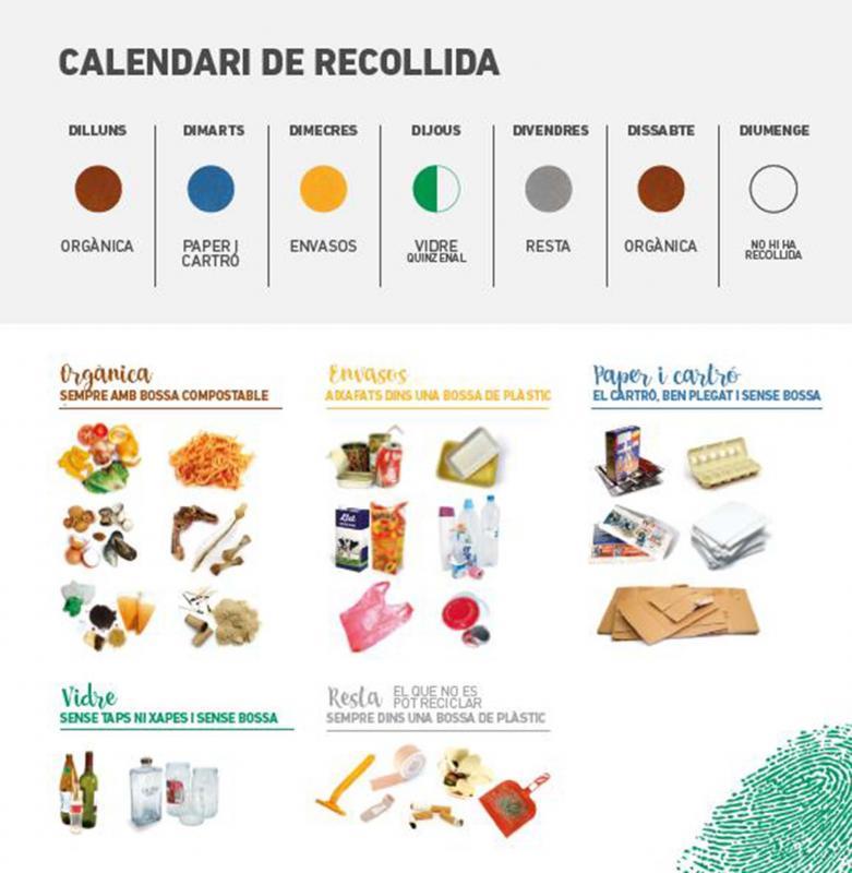 Calendari de recollida i repartiment de les fraccions -