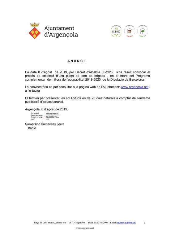 Convocatòria del procés de selecció d'1 peó de brigada - Argençola