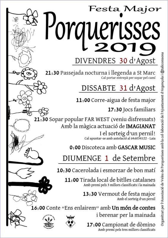 cartell Festa major de Porquerisses 2019