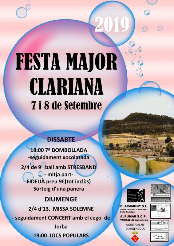 cartell Festa Major de Clariana 2019
