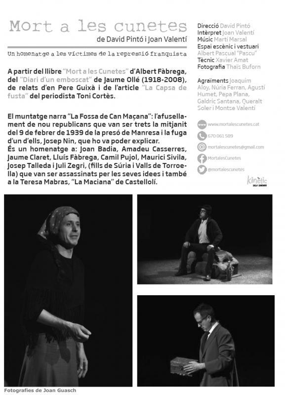 Teatre 'Mort a les cunetes. Un homenatge a les víctimes de la repressió franquista' - Argençola