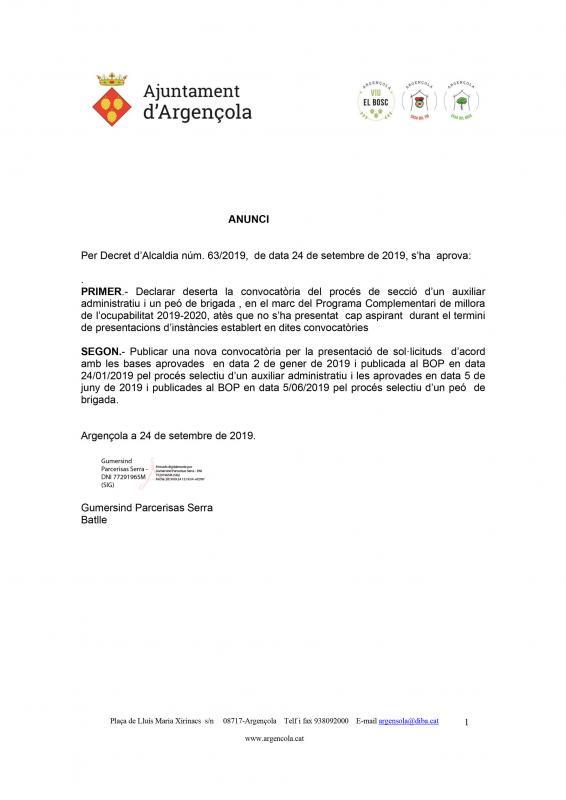 Declarades desertes les convocatòries del procés de secció d'un auxiliar administratiu i un peó de brigada - Argençola