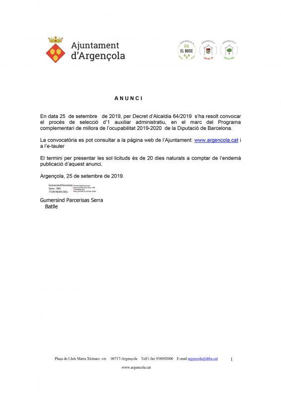 Convocatòria del procés de selecció d'1 auxiliar administratiu - Argençola