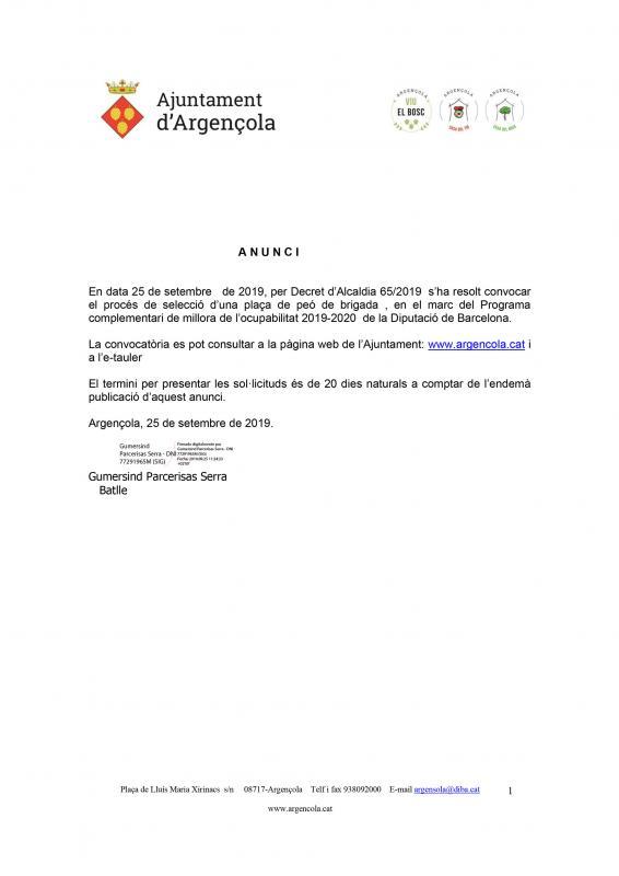 Convocatòria del procés de selecció d'un peó de brigada - Argençola
