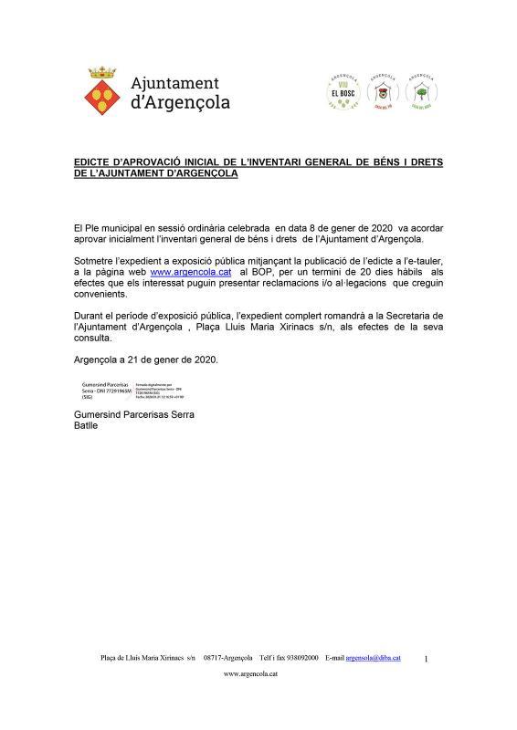 Aprovació inicial de l'inventari general de Béns i Drets de l'Ajuntament d'Argençola - Argençola