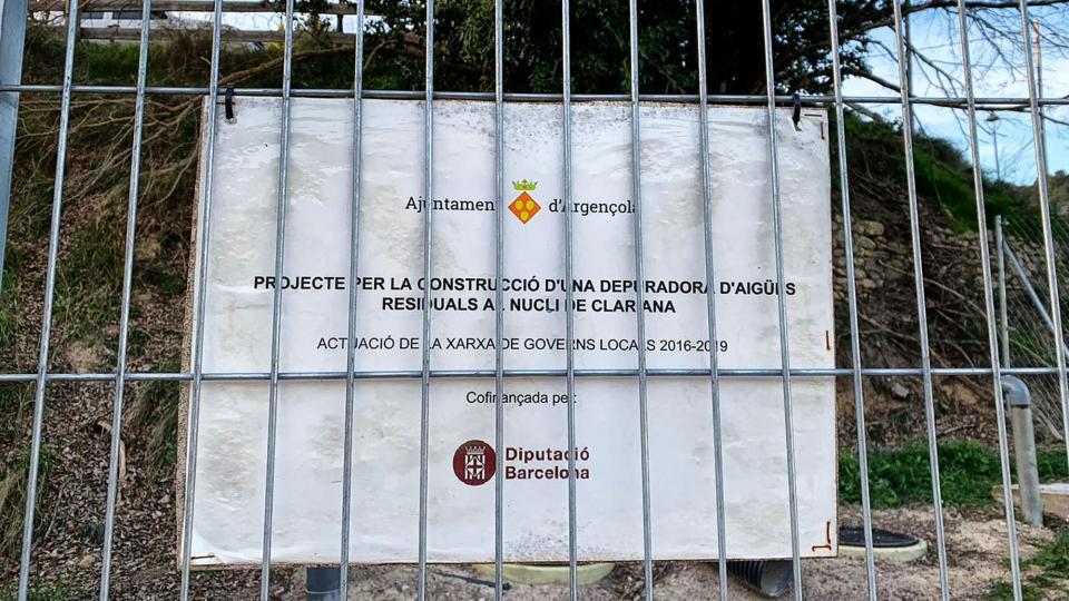 L'obra s'ha finançat en el marc de les Meses de concertació del Pla 'Xarxa de Governs Locals 2016-2019' de la Diputació de Barcelona - Clariana