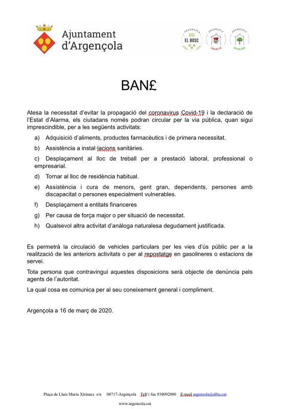 Ban de l'Ajuntament d'Argençola de mesures de restricció de la mobilitat - Argençola