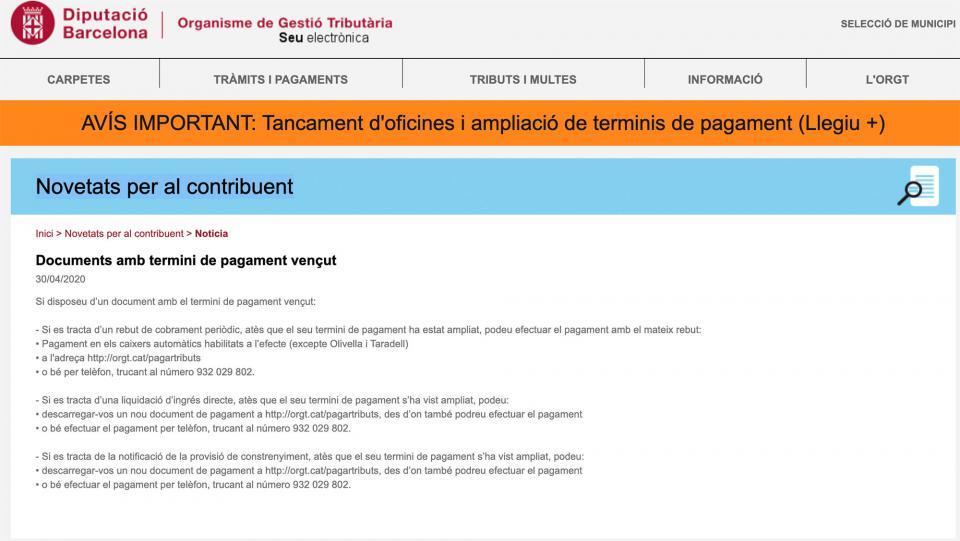 Documents amb termini de pagament vençut l'ORGT -