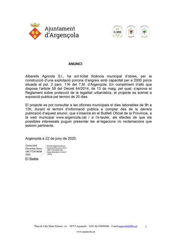 Anunci llicència municipal d'obres Albarells Agricola S.l. I - Albarells
