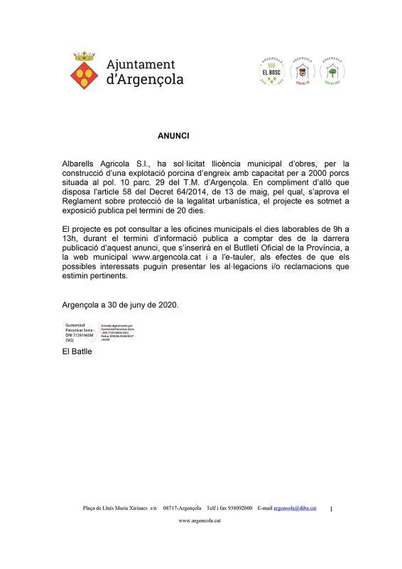 Anunci llicència municipal d'obres Albarells Agricola S.l. II - Albarells