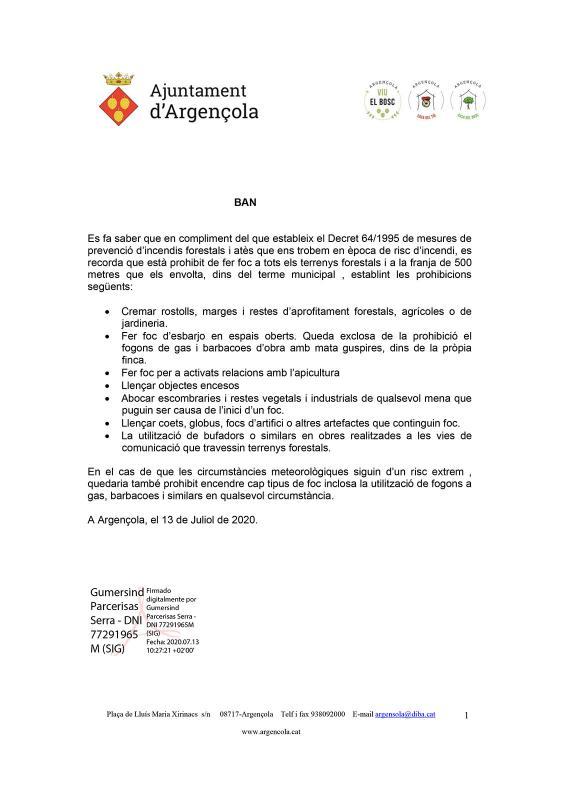Prohibit de fer foc a tots els terrenys forestals d'Argençola - Argençola