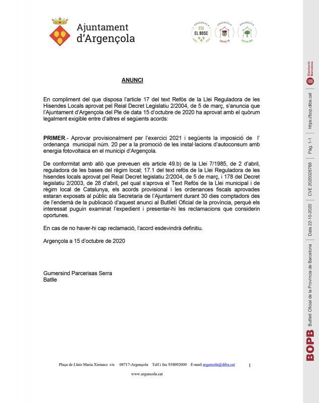 Aprovació provisional de l' ordenança municipal núm. 20 - Argençola