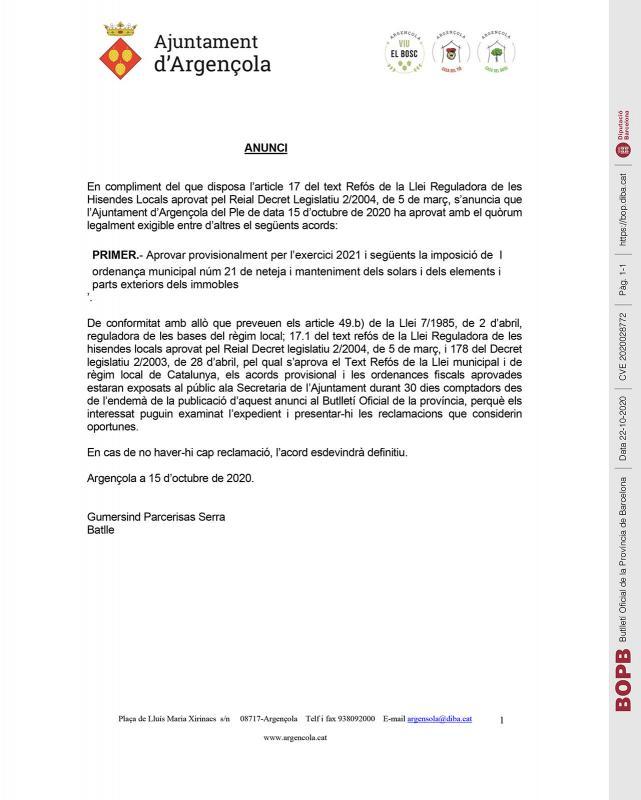 Aprovació provisional de l' ordenança municipal núm. 21 - Argençola
