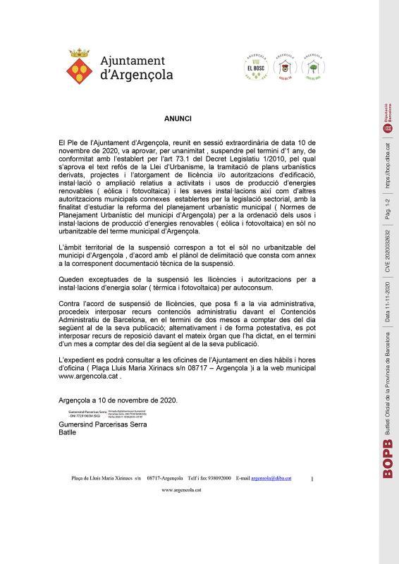 Suspensió per un any de llicències relatives a activitats i usos de producció d'energies renovables (eòlica i fotovoltaica))