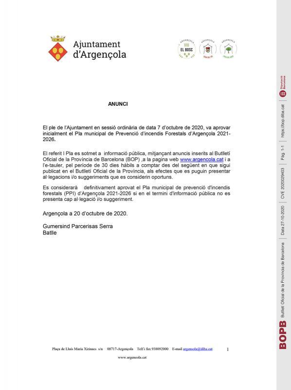 Aprovació inicial del Pla municipal de Prevenció d'incendis Forestals d'Argençola 2021- 2026 - Argençola